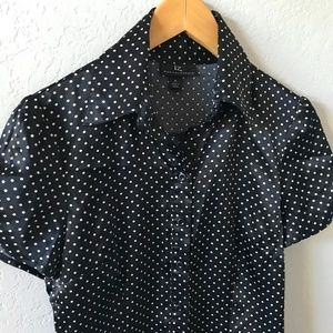 IZ BYER CA Black White Dots Button Up Blouse M